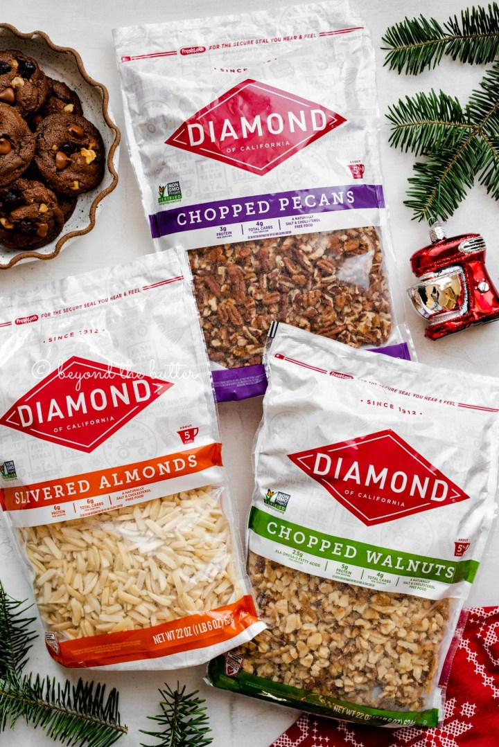 Diamond Nuts Baker's Box of chopped walnuts, chopped pecans, and slivered almonds | All Images © Beyond the Butter®