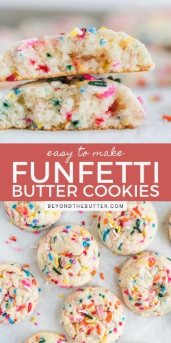 Pinterest images of funfetti butter cookies from BeyondtheButter.com | All Images © Beyond the Butter®