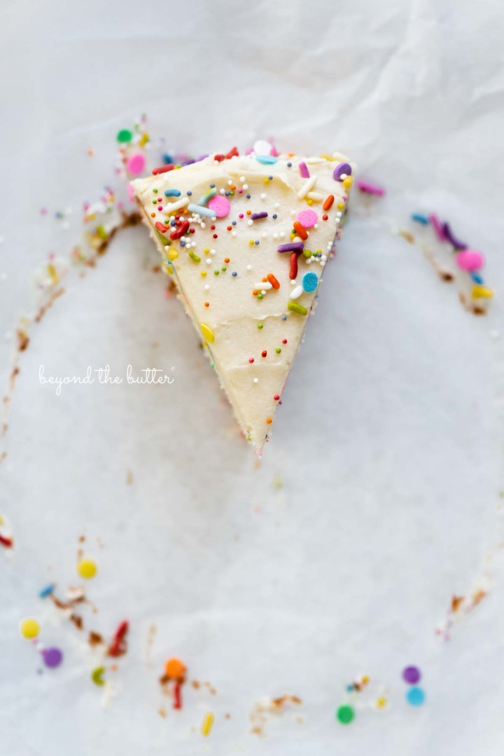 Single slice of 6 inch funfetti cake from BeyondtheButter.com | All images © Beyond the Butter®