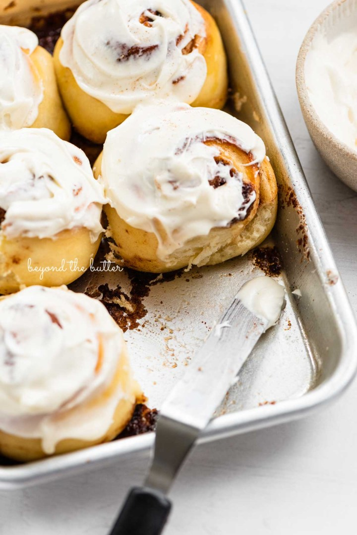 Just frosted small batch cinnamon rolls from BeyondtheButter.com | © Beyond the Butter®