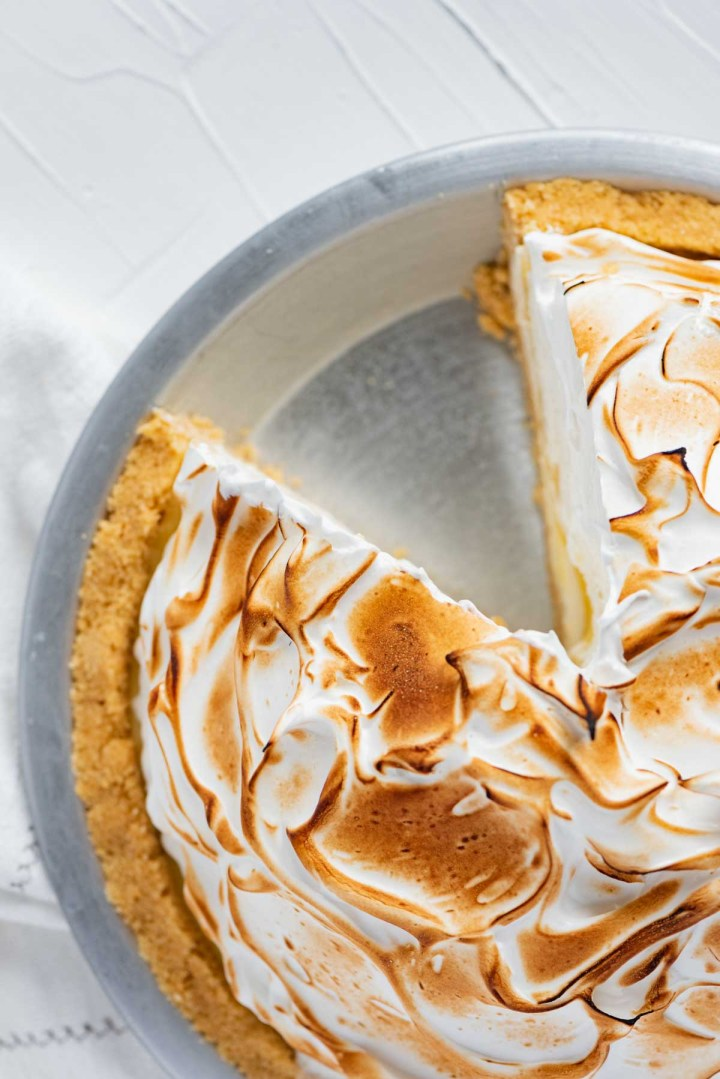 Lemon Meringue Ice Cream Pie with slice removed | © Beyond the Butter®