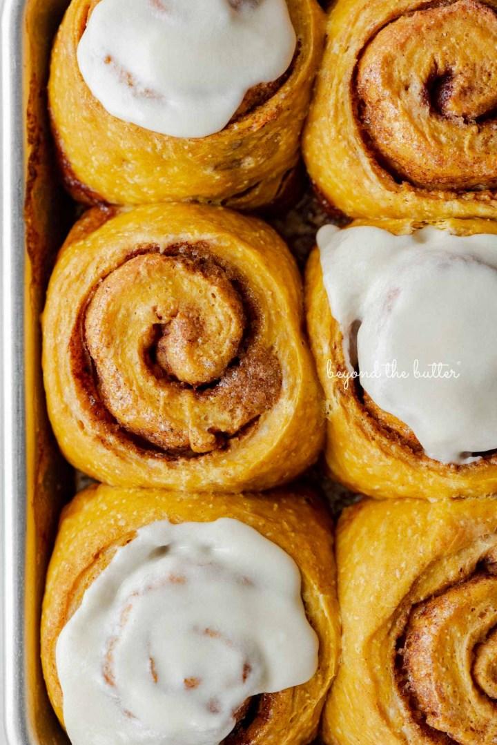 Small batch of pumpkin cinnamon rolls baked on a small baking sheet | © Beyond the Butter®