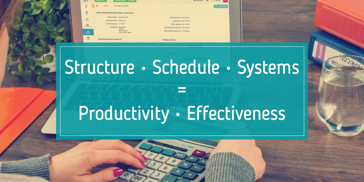 Structure, Schedule, and Systems = Productivity, Effectiveness.