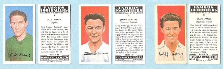 Famous Footballers Brown, Greaves and Jones cigarette cards