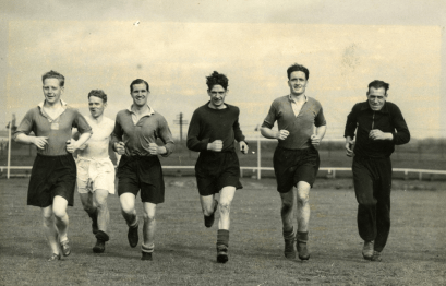 Albion Rovers players in training, 1948