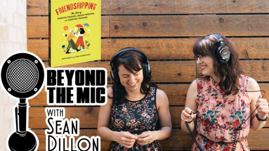 Trin Garritano and her co author Jenn Bane with the Friendshipping book and Beyond the Mic Logo