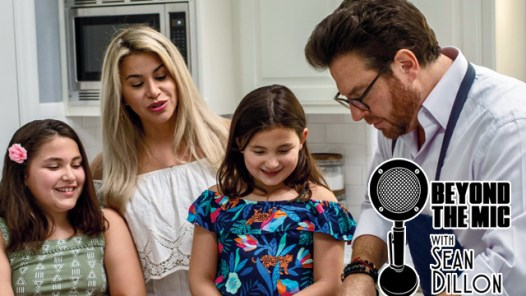 Scott Conant and family cooking with Beyond the Mic logo