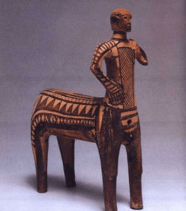Centaur from Lefkandi, approx. 1000 BCE, discovered in a dig near Euboea. Click on the image to discover more images and information about this archeological dig.