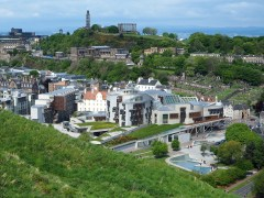 Scottish parliament and Carlton Hill seen from Holyrood Park.