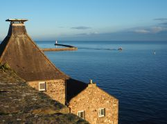 Berwick lighthouse pier, seen from the medieval town walls - January 2017