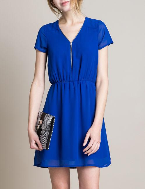 robe col zippé bleue jennyfer