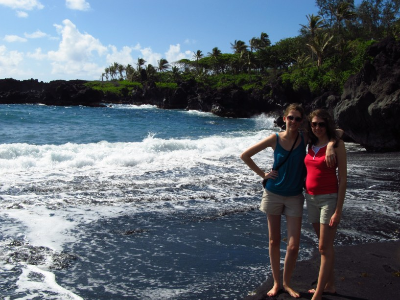 On the black sand beaches of Hawaii.