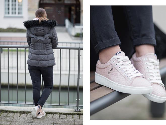 Praktische Mode für den Alltag mit Stil, casual Outfit, Alltagsoutfit, Gaastra Daunenjacke, rosa Hoodie, rosa Sneaker von Gaastra, bezauberndenana.de