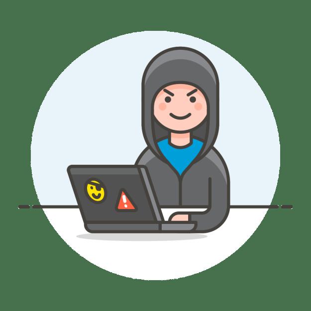 Logo - osoba w kapturze siedząca przy komputerze