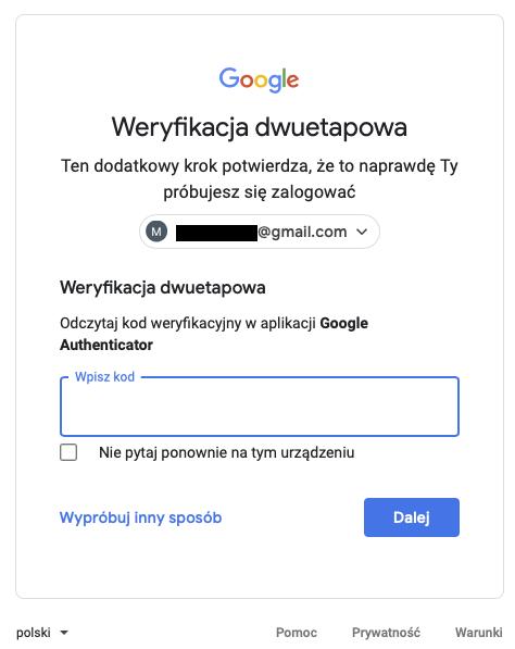 Dwuskładnikowe uwierzytelnienie w Gmail