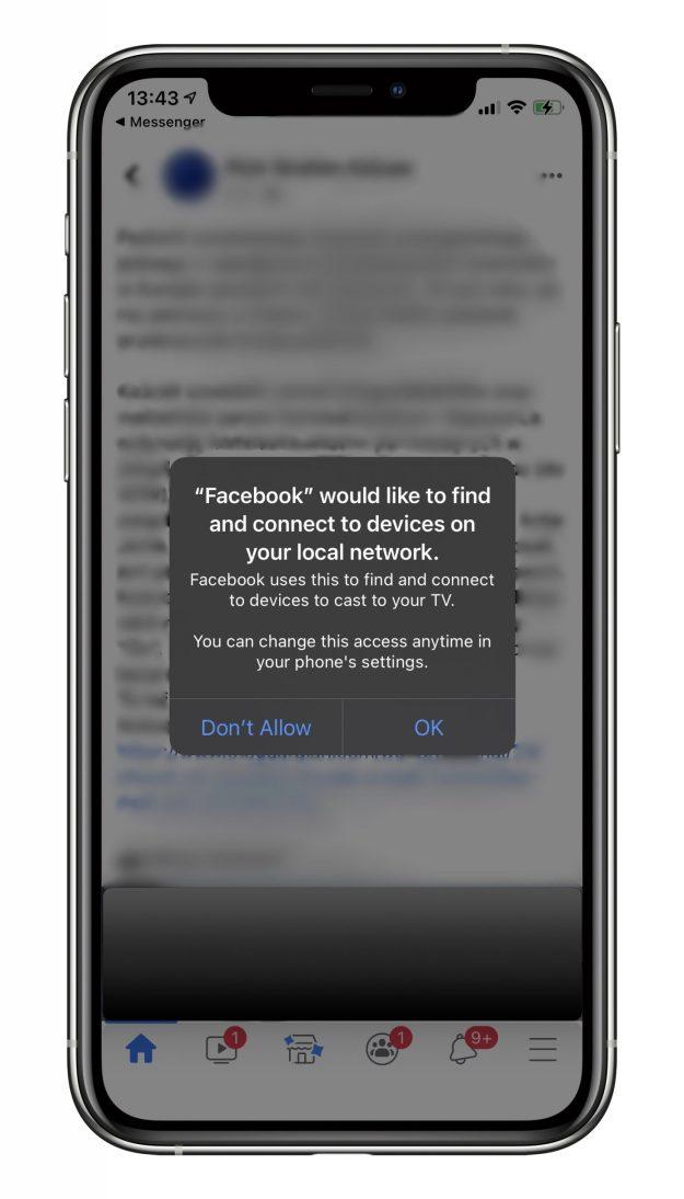 Komunikat aplikacji Facebook dotyczący dostępu do urządzeń w sieci lokalnej w iOS 14