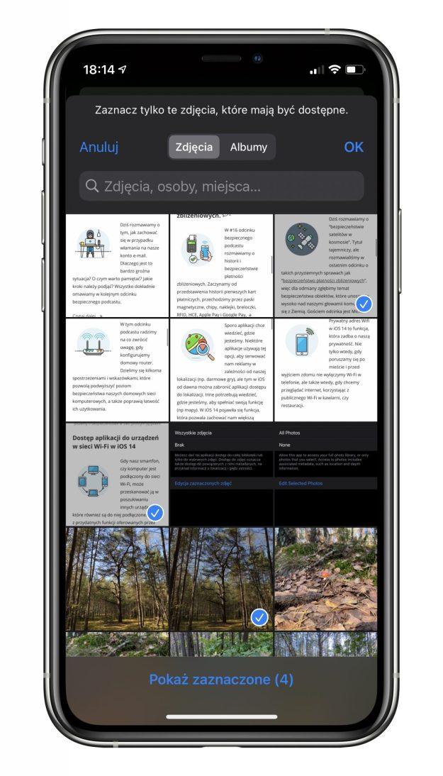 """Ekran wybierania zdjęć, które mają być dostępne dla aplikacji przy ustawieniu """"Wybrane zdjęcia"""""""
