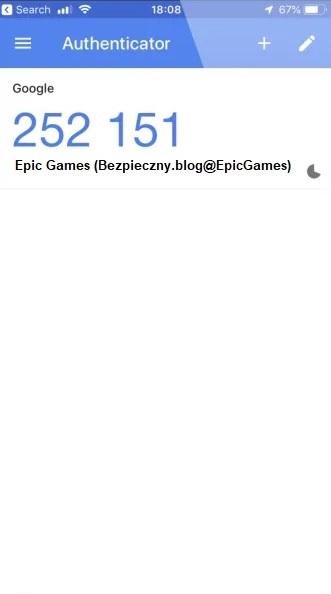 """Ilustracja 7. Jednorazowy kod do serwisu """"Epic Games"""" w """"Google Authenticator"""""""