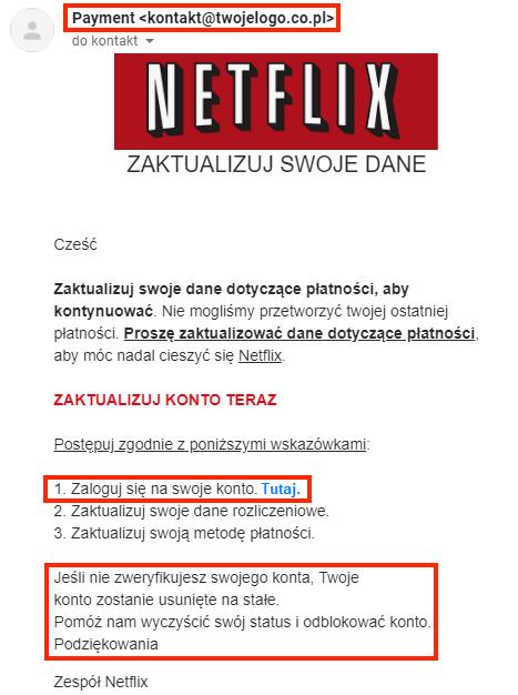 """Ilustracja 5. Przykład phishingowej wiadomości e-mail, która podszywa się pod serwis """"Netflix"""" – na czerwono zaznaczone miejsca, na które użytkownik powinien zwrócić uwagę"""