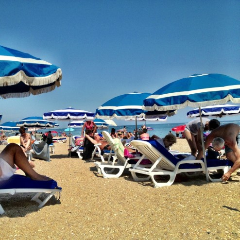 Beach clubs in Sete, France
