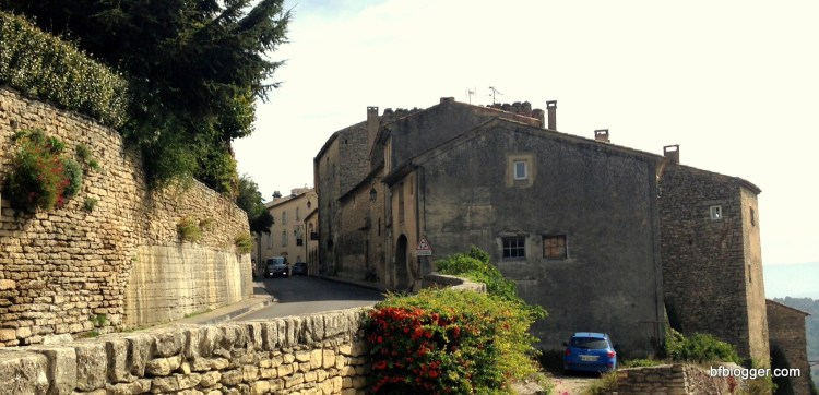Narrow streets with stone walls and houses