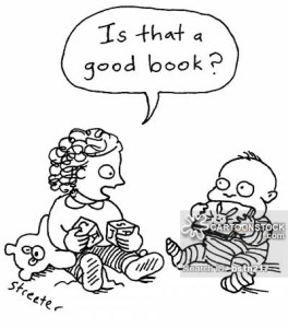 Little girl to baby: Is that a good book?