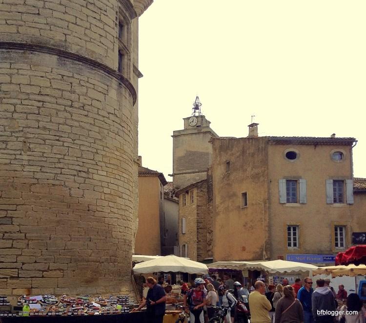 Market day in the village square in Gordes.