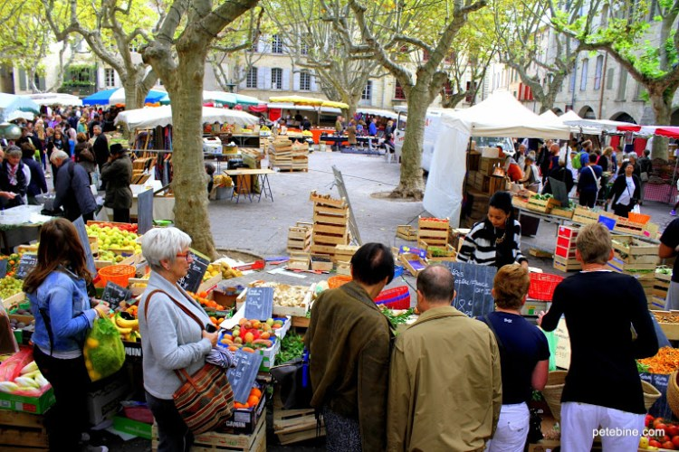 Saturday Market in October Uzes