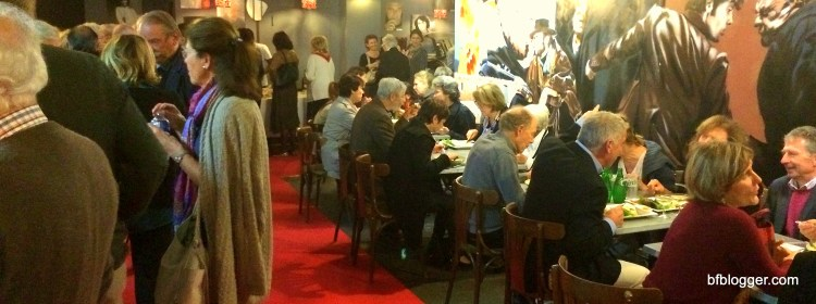 Cinema - goers enjoying a meal at intermission of Carmen