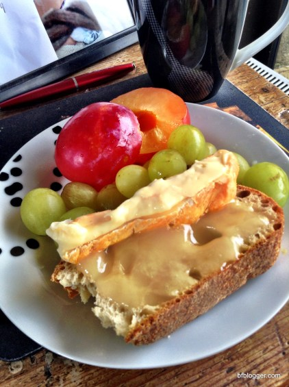 Fresh Fruit, Brie and Lavender Honey on Crusty French Bread for Lunch!