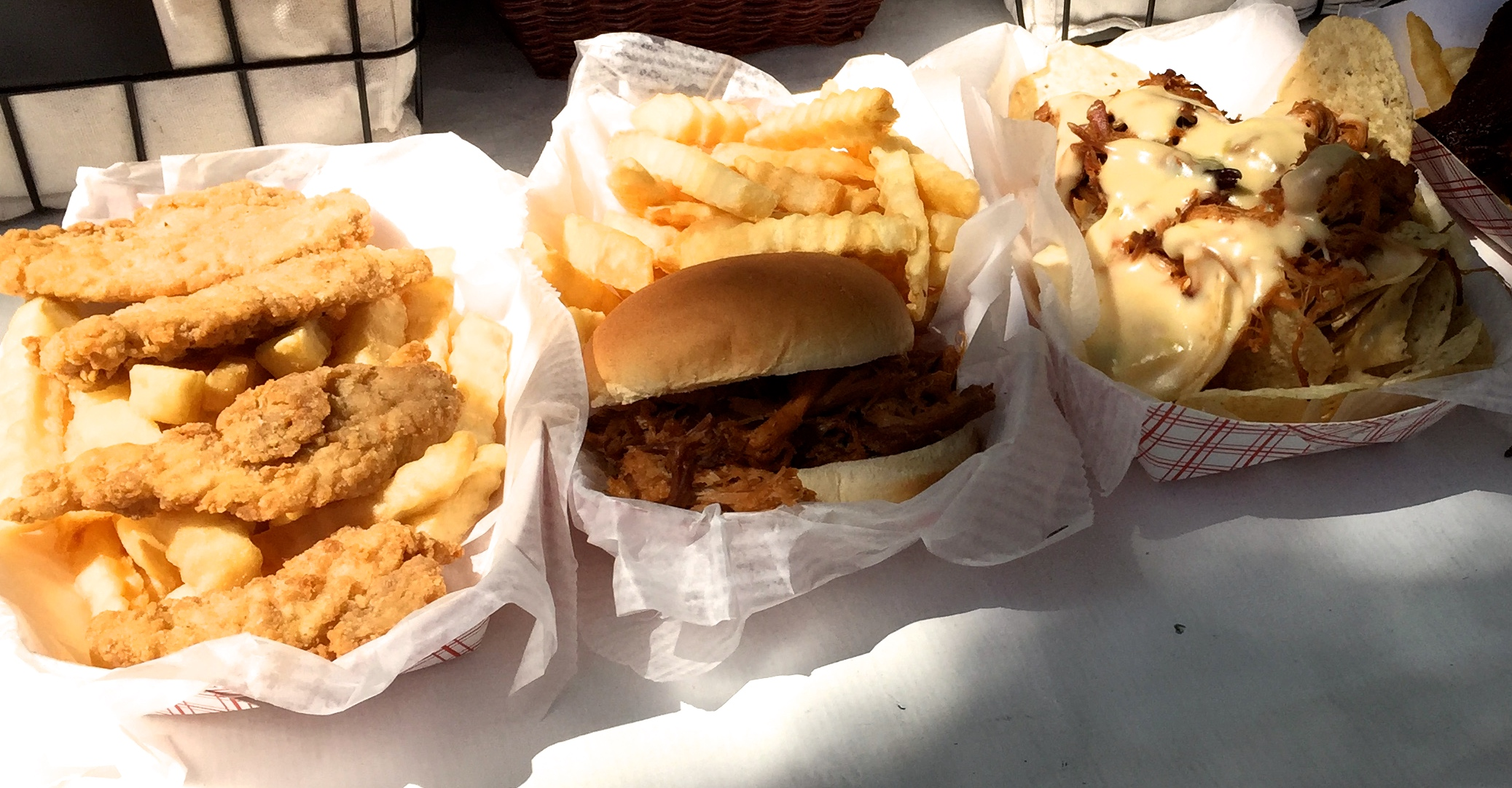 Fried chicken, barbecue and tacos