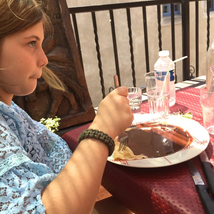 Crepes with chocolate for dessert