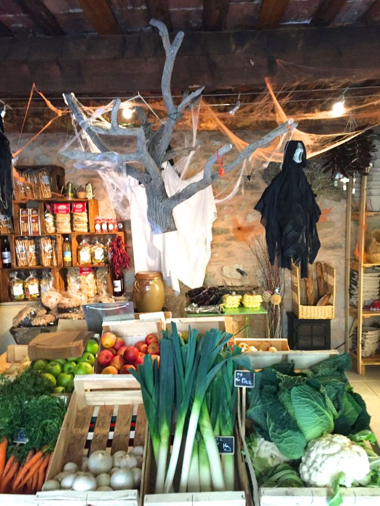Shop decorated for Fall and Halloween