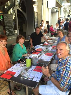 Friends dining in Uzes France