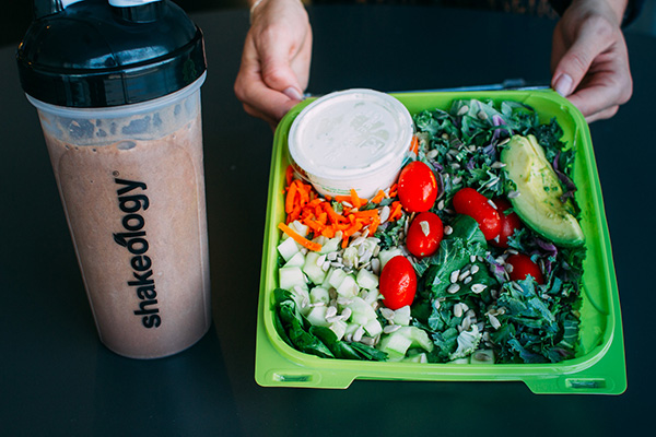 Shakeology and a healthy salad