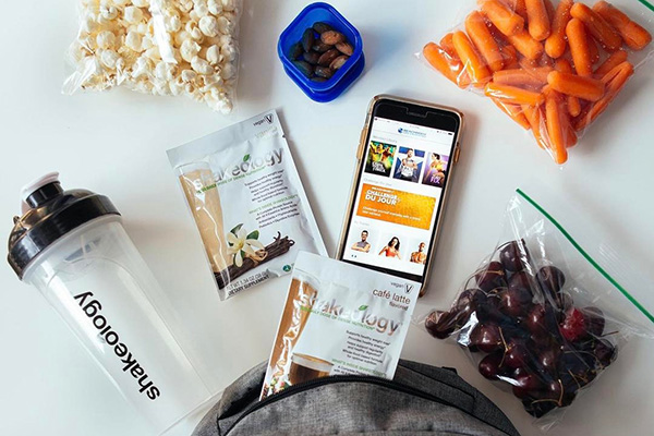 Shakeology packet and healthy snacks