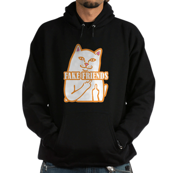 Cat Fuck Fake Friends Zip Hoodie