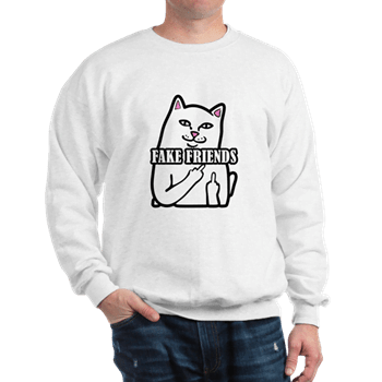 Cat Fuck Fake Friends Sweatshirt