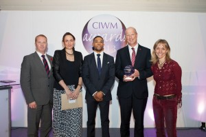 The RWM Sustainable Facilities Management Award (left to right): Dan Thurlow (i2i Events Group), Kate Cawley (WasteSolve), Ashley Ellis (Westfield), David Collins (Westfield and Michaela Strachan