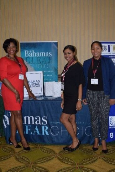 Pictured left to right: Tanya Murray (Ministry of Financial Services), Indira Munroe-Farrington (BFSB) and Khaliah Brown (Ministry of Financial Services)