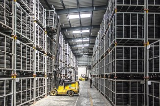 a warehouse and a forklift