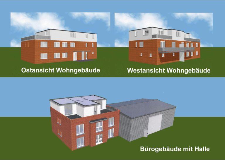 erste Planung für die Wohn- und Bürogebäude