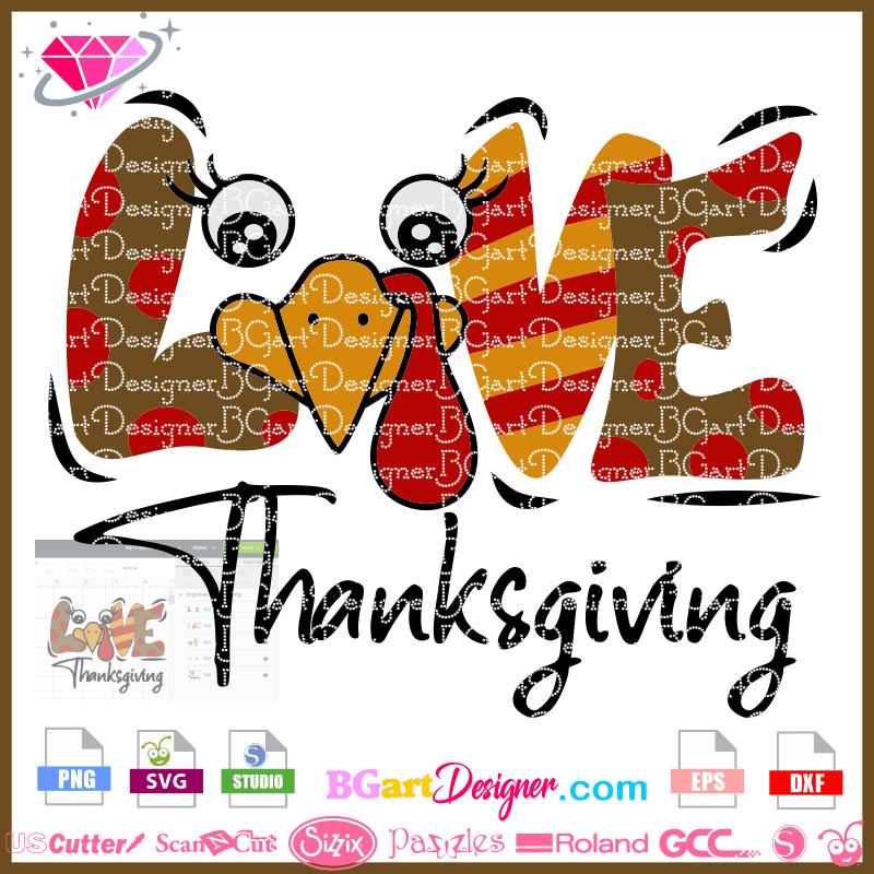 Download lllᐅLove Turkey Thanksgiving SVG - cricut cameo Christmas