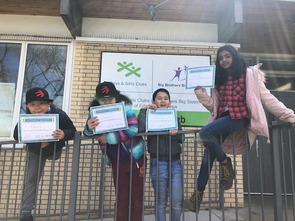 The BGCBIG Kids Recieved Certificates from the Edmonton Food Bank