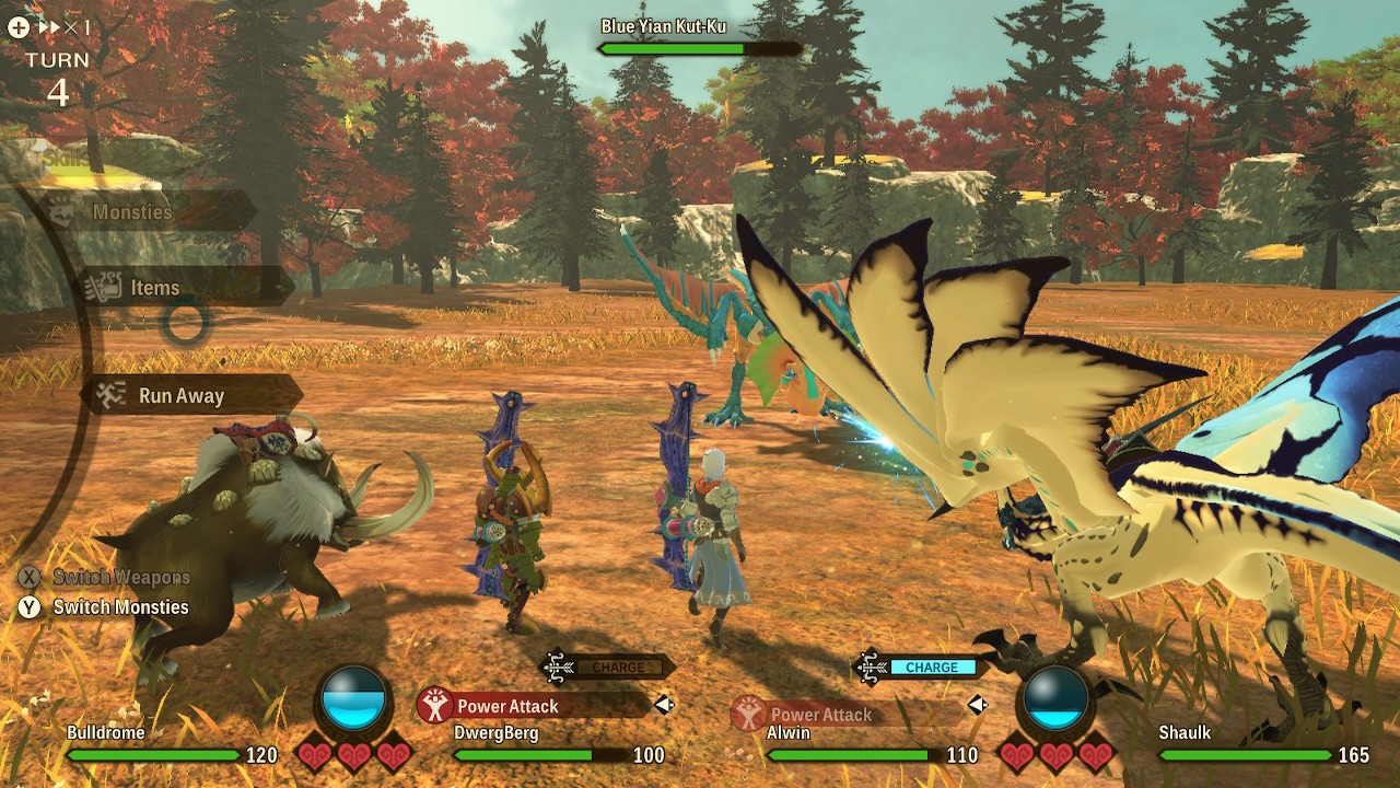 Monster Hunter Stories 2 combat with a partner.