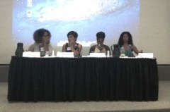 Doctoral student Kevina King (far left) on a panel this weekend with Jemele Watkins (far right) at the third Black German Heritage & Research Association International Conference held at Amherst College.