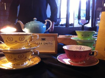 Every stunning piece of Sara Smith (sarasmith.co.uk) bone china is hand painted in 18 carat gold.