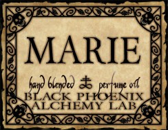 Marie, Black Phoenix Alchemy Lab. A blend of sinuous violet and elegant tea rose: the chosen scent of France's Demigoddess of Debauch: Marie Antoinette.
