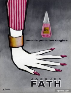 D. Bonnaud for Jacques Fath nail varnish, 1957