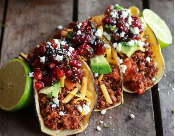 Chipotle Quinoa Sweet Potato Tacos with Roasted Cranberry Pomegranate Salsa from Half Baked Harvest